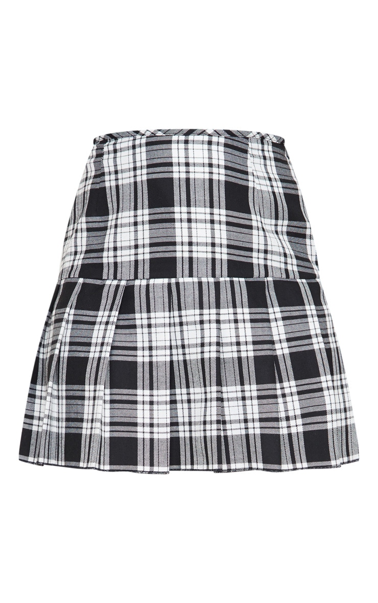 Black Check Woven Pleated Mini Skirt 6