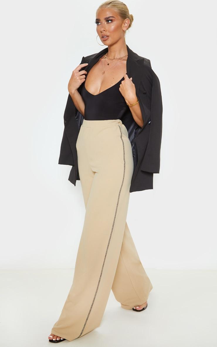 Pantalon ample gris pierre en crêpe à coutures contrastantes 1