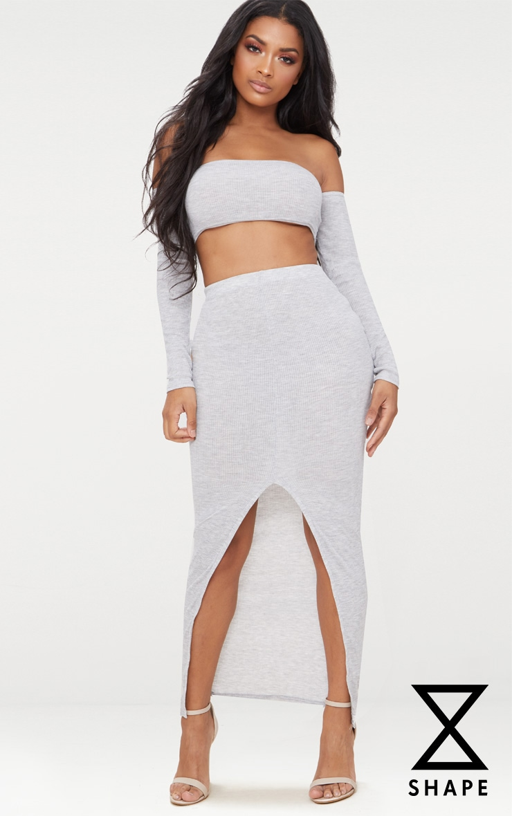 Shape Grey Marl Ribbed Midaxi Skirt