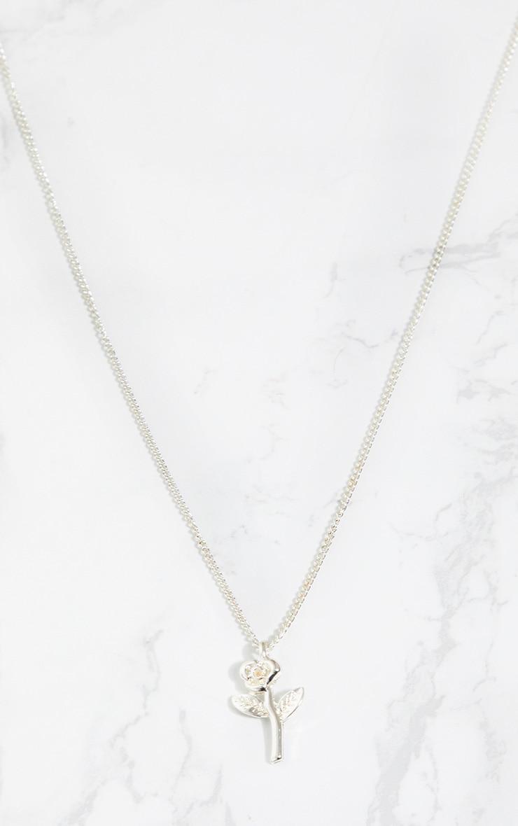 Silver Rose Pendant Necklace 3