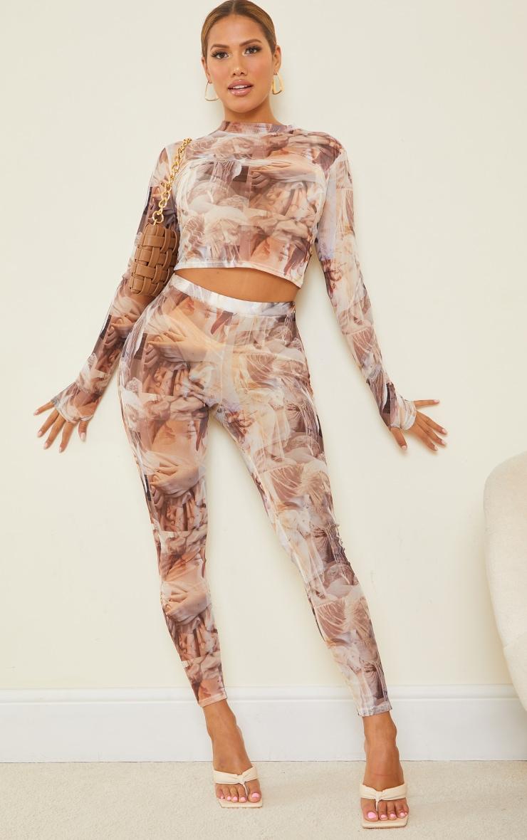 Shape Nude Renaissance Print Sheer Mesh Ruched Bum Leggings 1