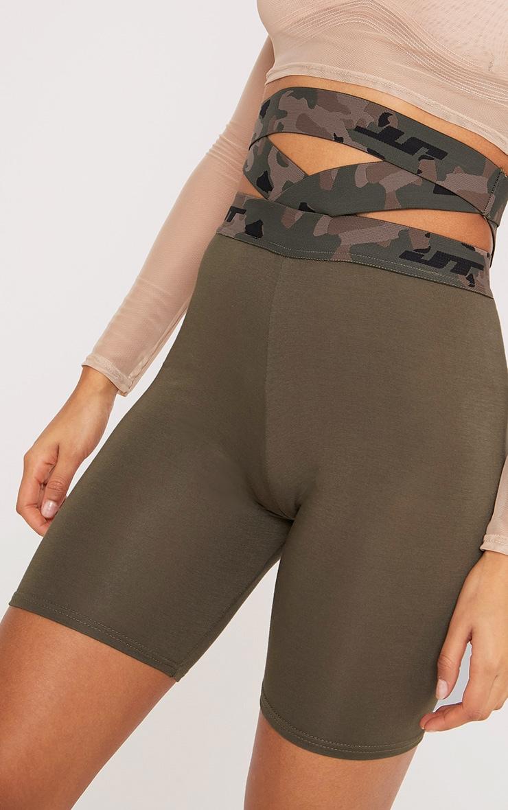 Deanna Khaki Camouflage Waist Cycle Shorts  5