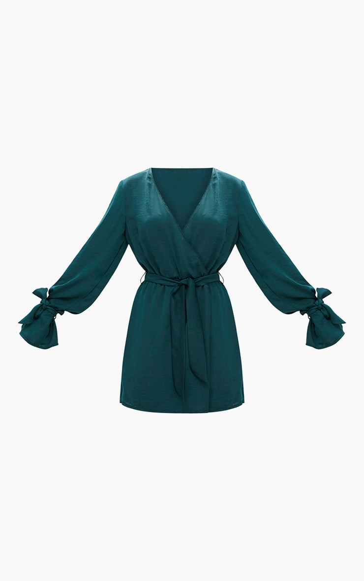 Emerald Green Satin Wrap Cuff Detail Shift Dress 3