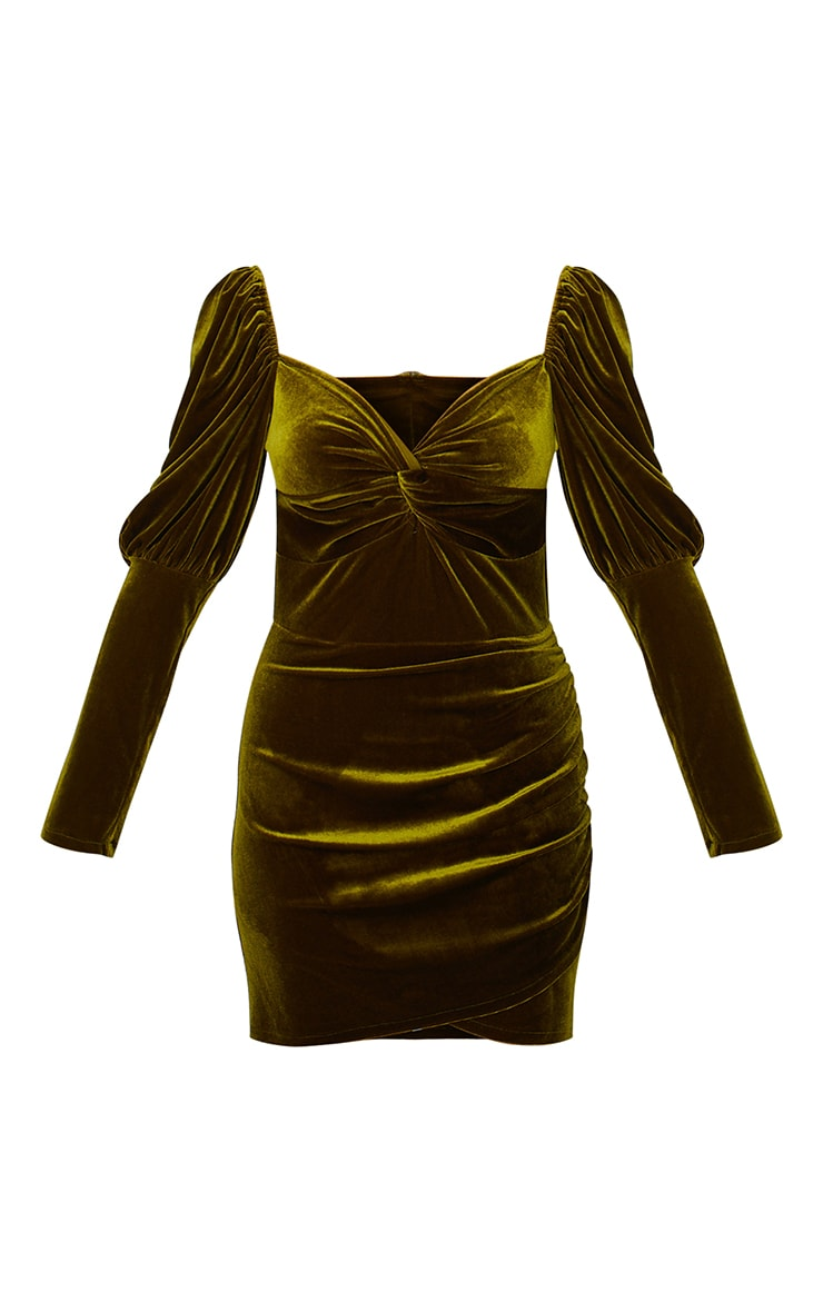 Olive Velvet Puff Sleeve Twist Detail Bodycon Dress 5