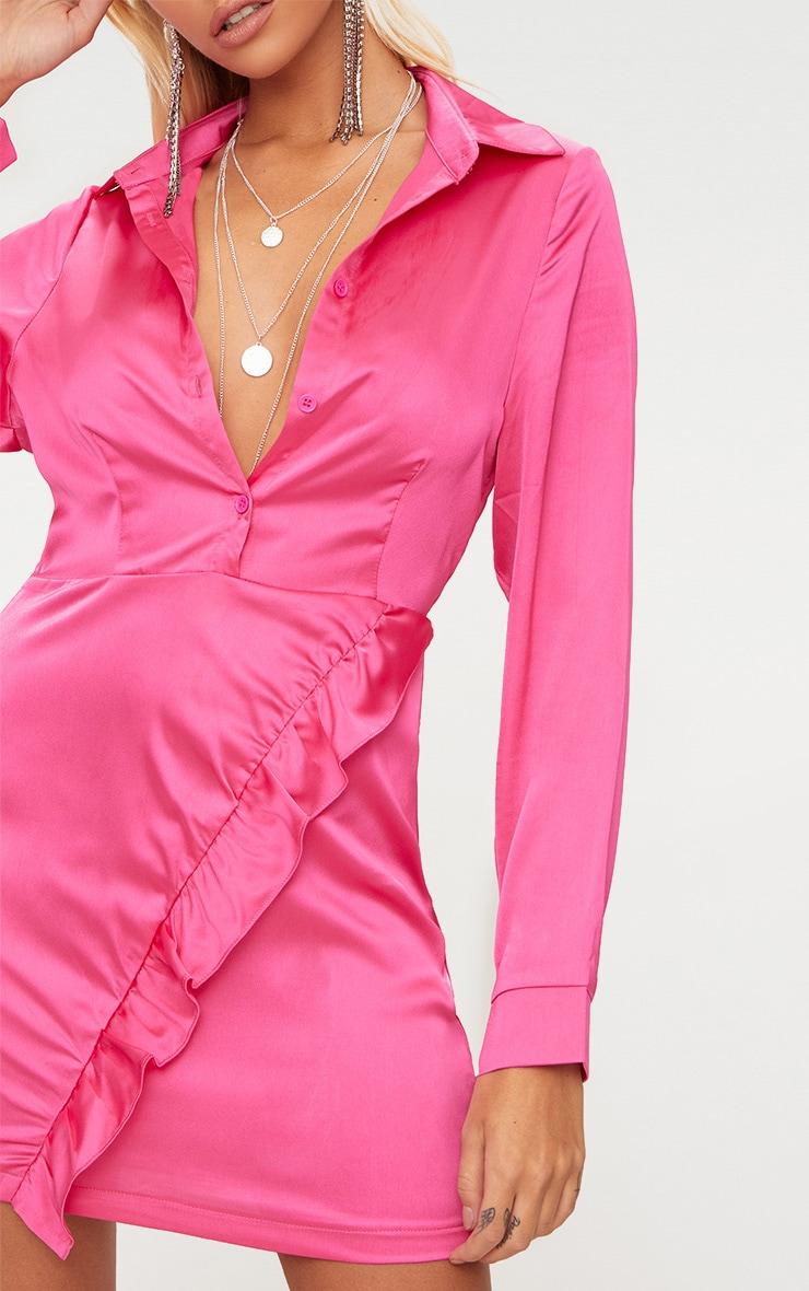Hot Pink Frill Detail Shirt Dress 5