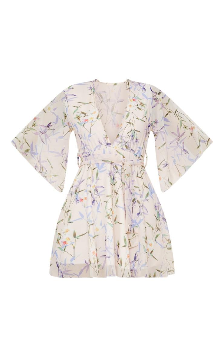 Cream Floral Plunge Skater Dress 3
