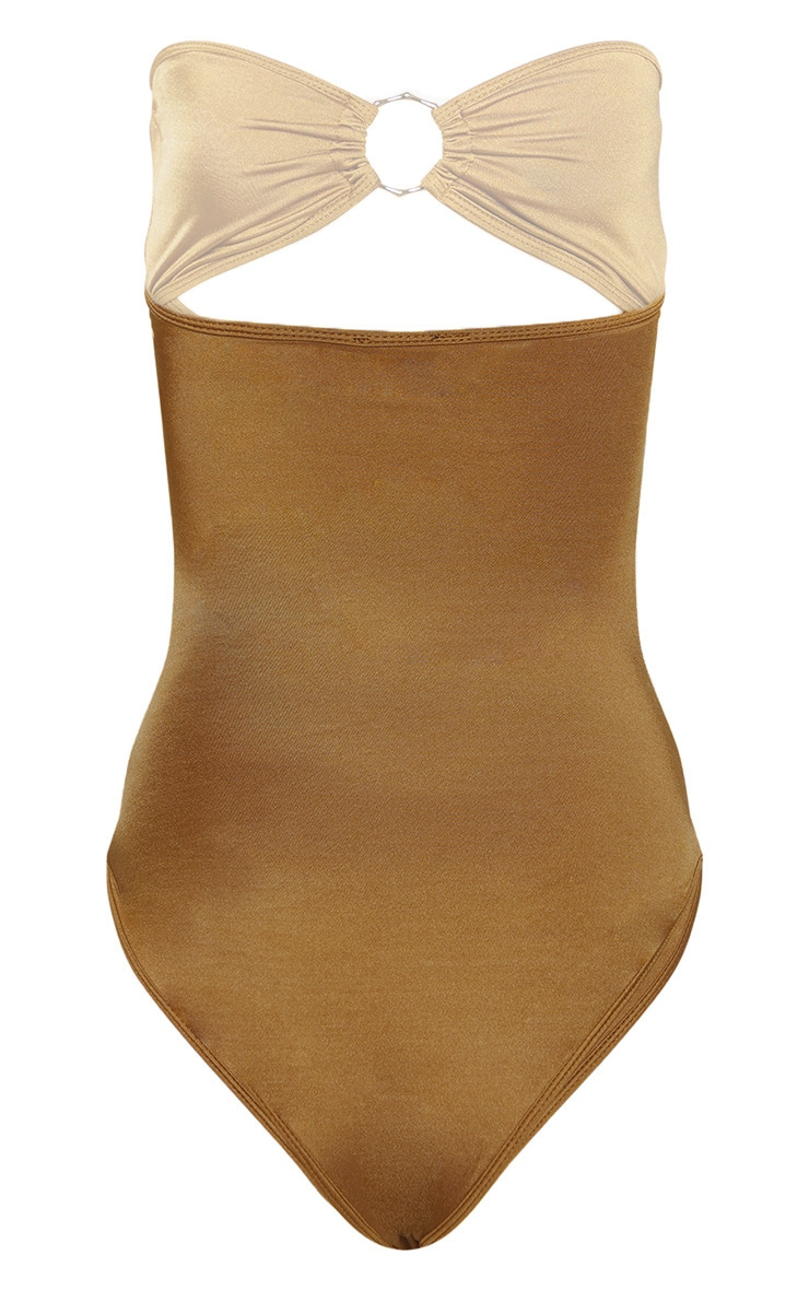 Mocha Bamboo Ring Strapless Cut Out Swimsuit 4