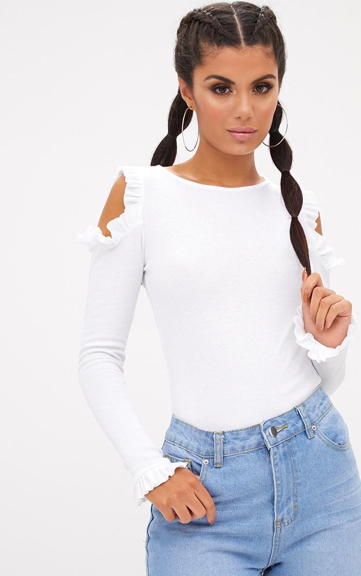 White Cold Shoulder Frill Ribbed Bodysuit 1
