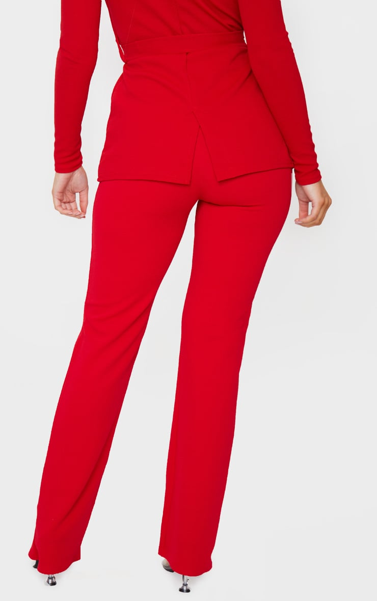 Red Straight Leg Suit Pants 3