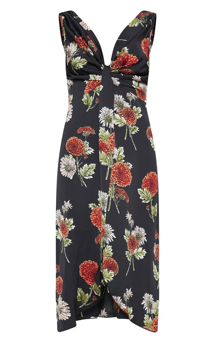 Black Floral Twist Front Drape Detail Midi Dress 3