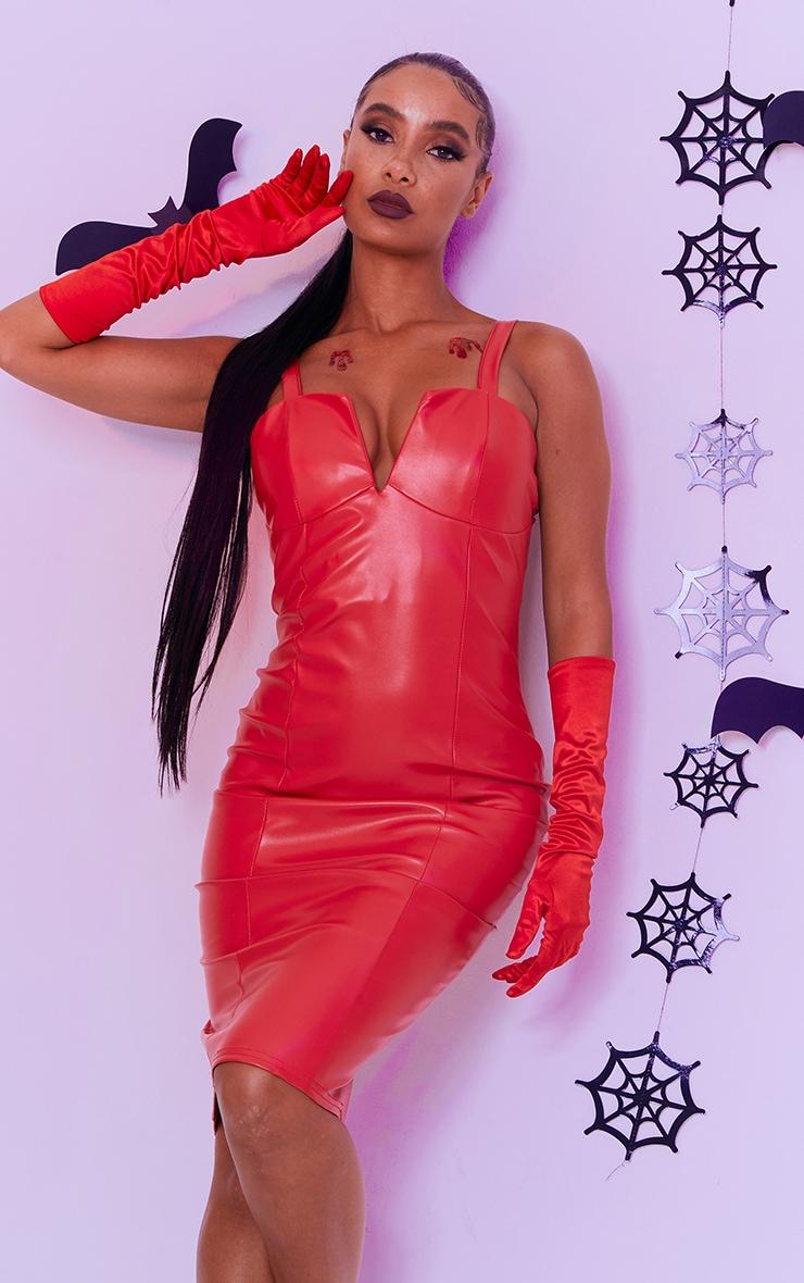 Red Faux Leather V Plunge Sleeveless Midi Dress 1