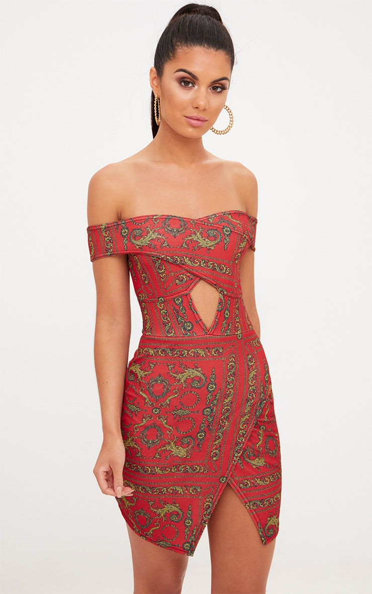 Red Chain Print Bardot Cut Out Front Wrap Skirt Bodycon Dress 1