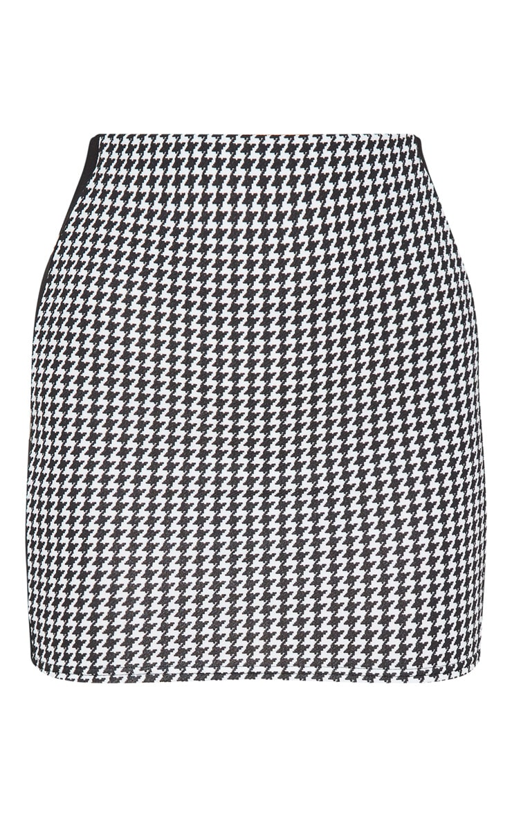 Black Houndstooth Contrast Panel Mini Skirt 3