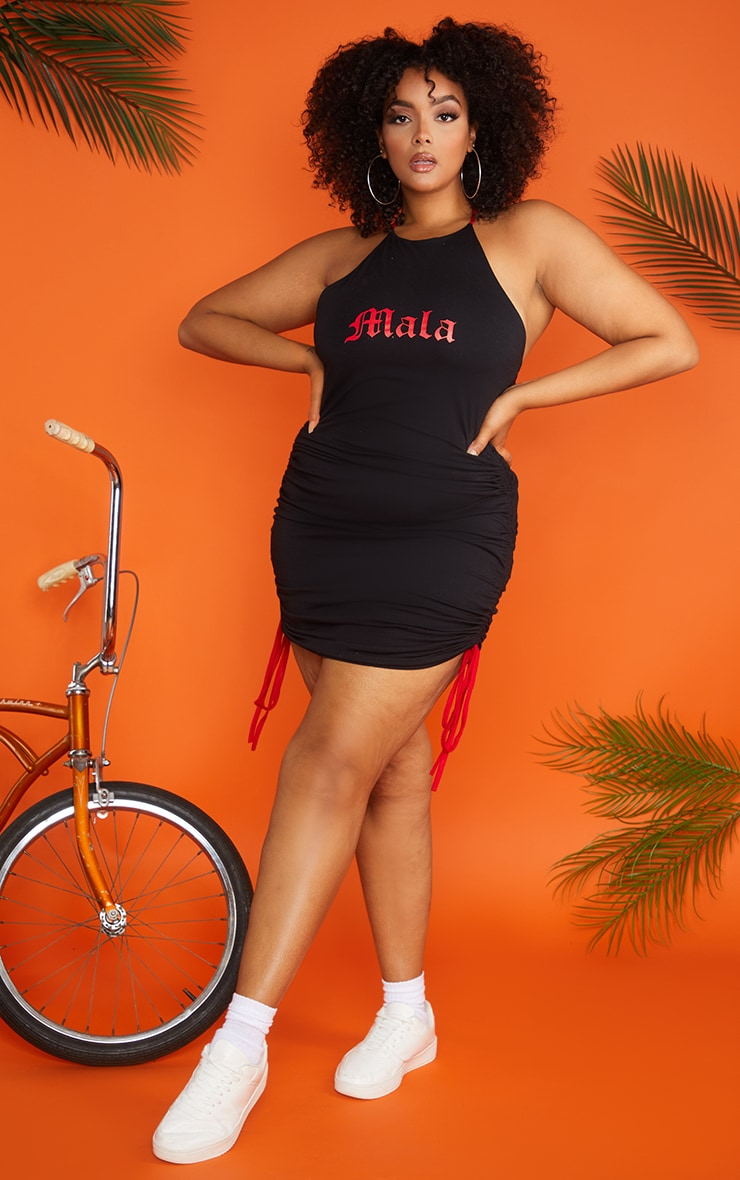 Plus Black Ruched Mala Bodycon Dress 3