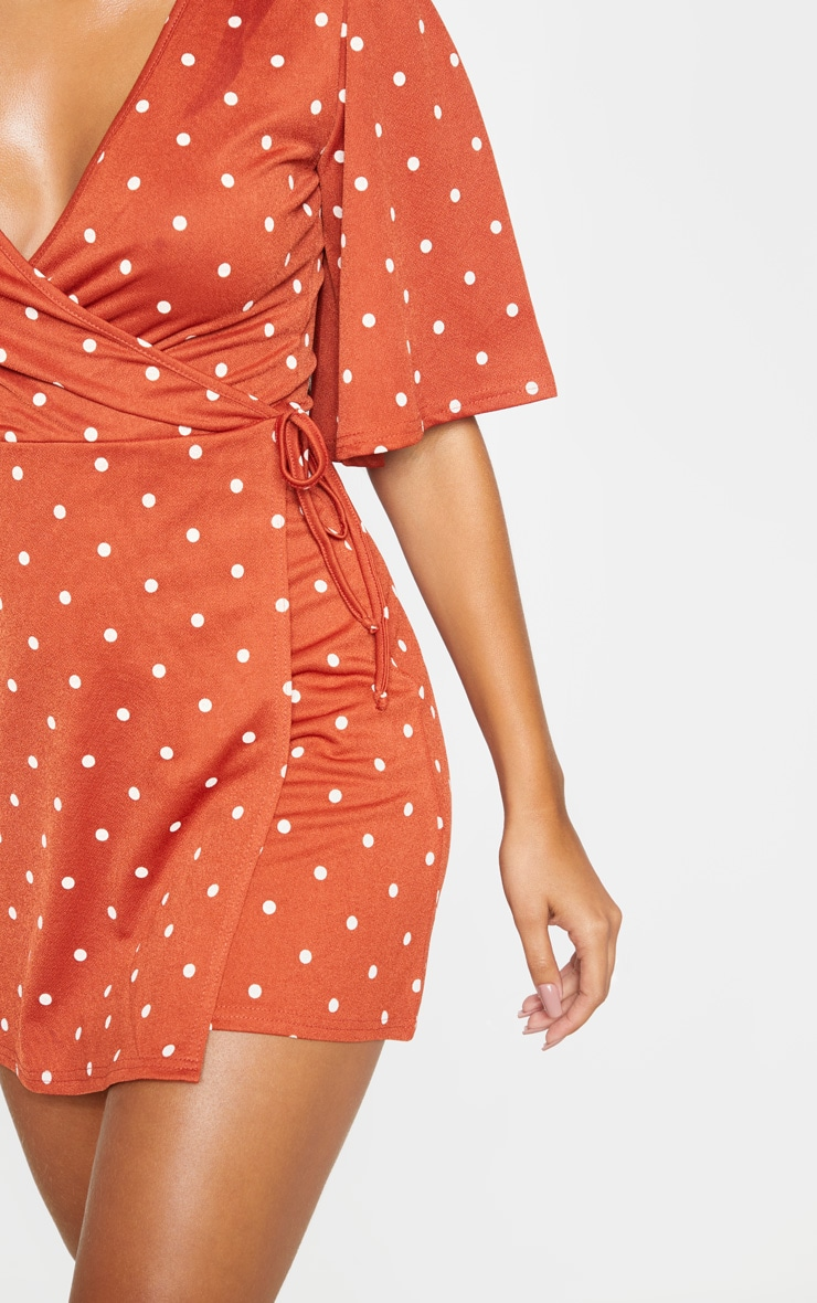 Terracotta Polka Dot Tie Wrap Tea Dress 5