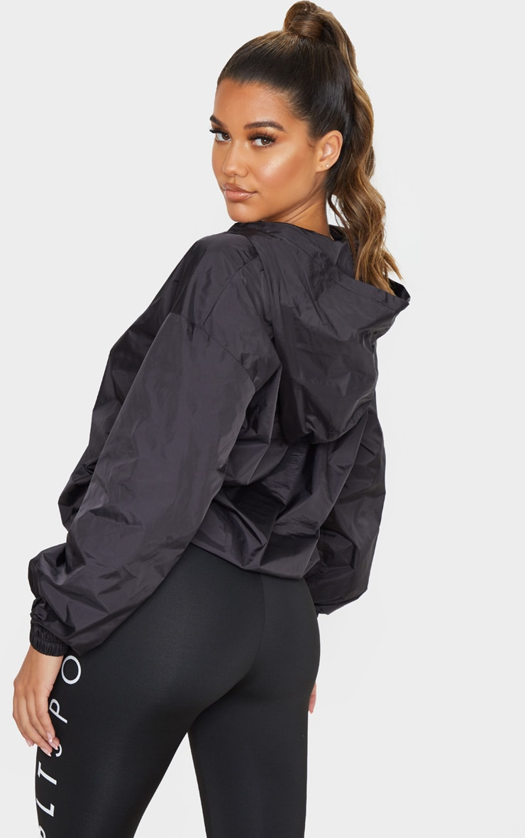 PRETTYLITTLETHING Black Sport Zip Up Windbreaker 2
