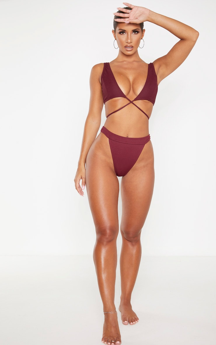Burgundy Ribbed Tie Front Plunge Bikini Top 4