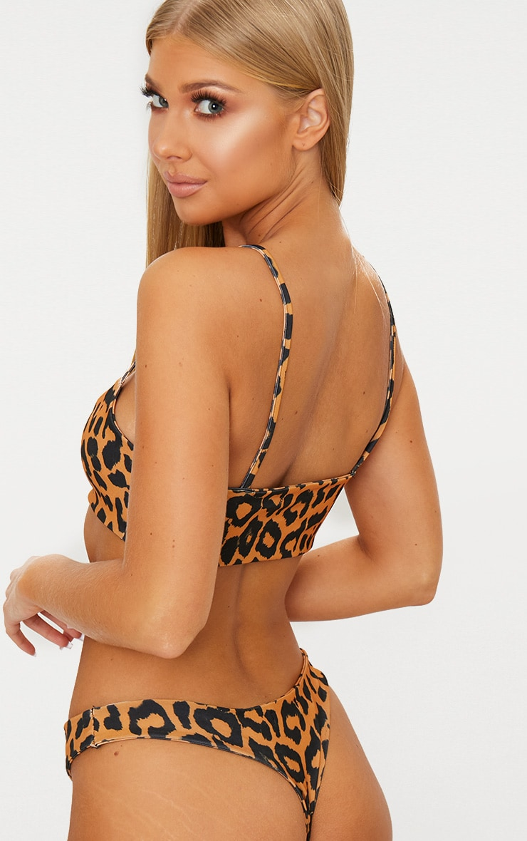Orange Cheetah Print Low Scoop Bikini Top 2