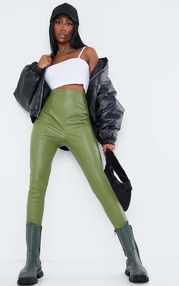 Military Khaki  Faux Leather Stretch Leggings 1