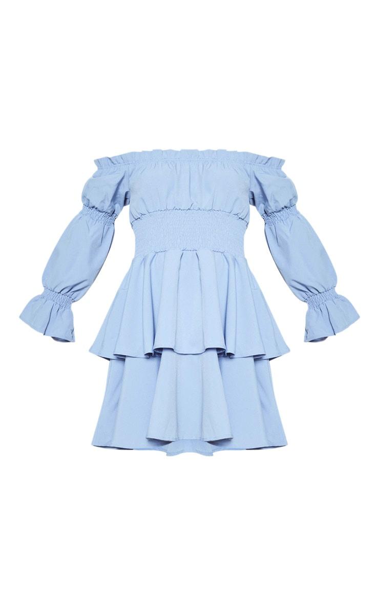 Blue Shirred Bardot Skater Dress 3