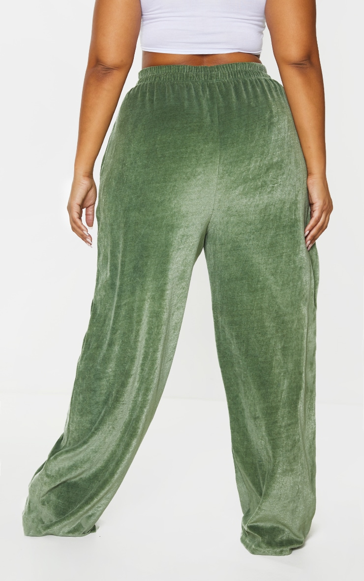Plus Olive Towelling Wide Leg Joggers 3