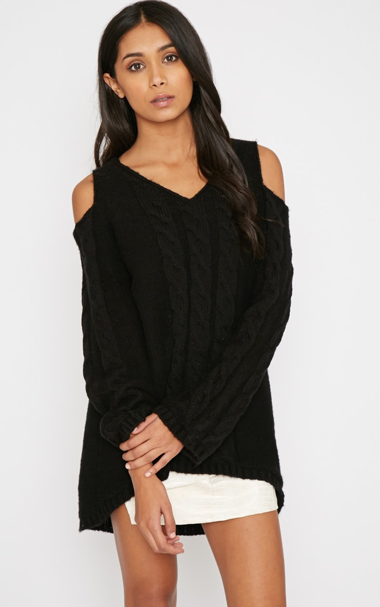 Clarisse Black Cut Out Shoulder Jumper  4
