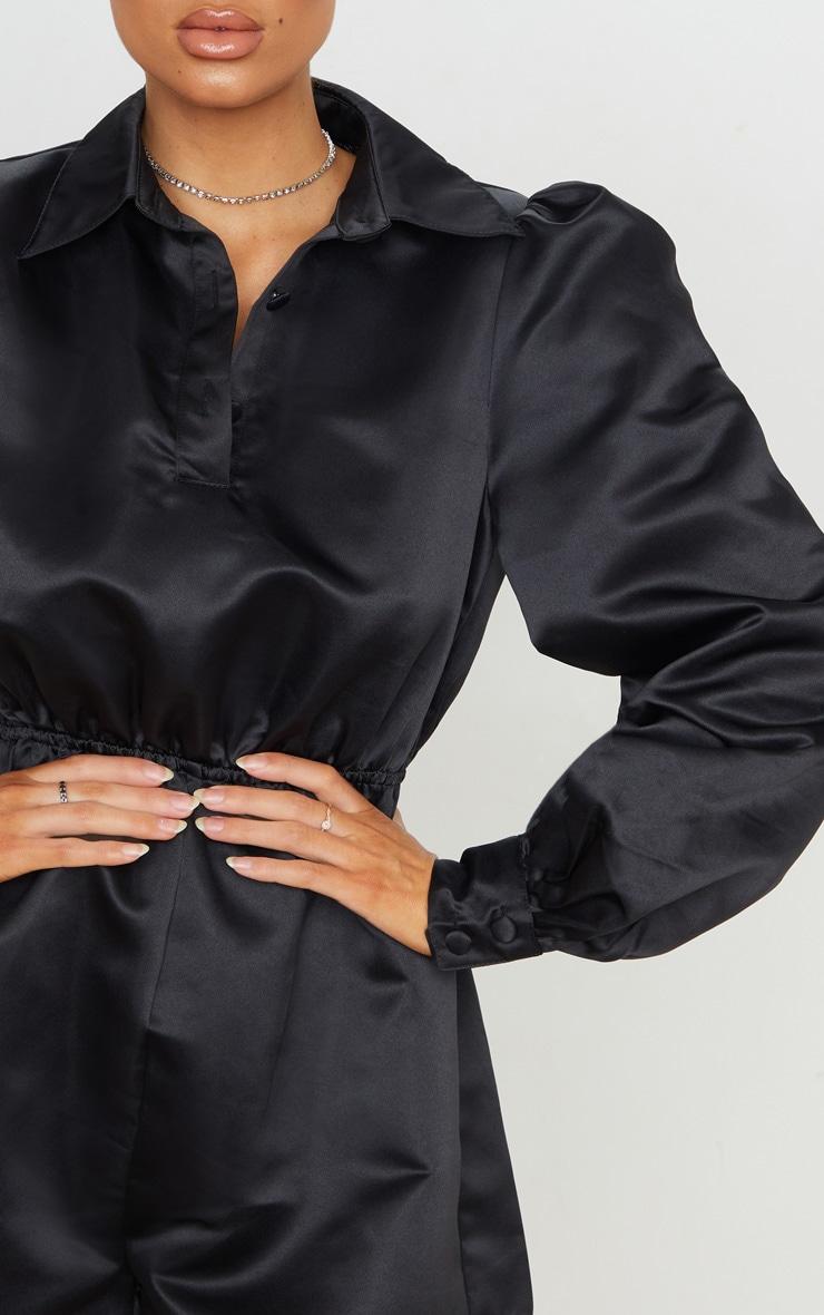 Black Bonded Satin Shirt Playsuit 6