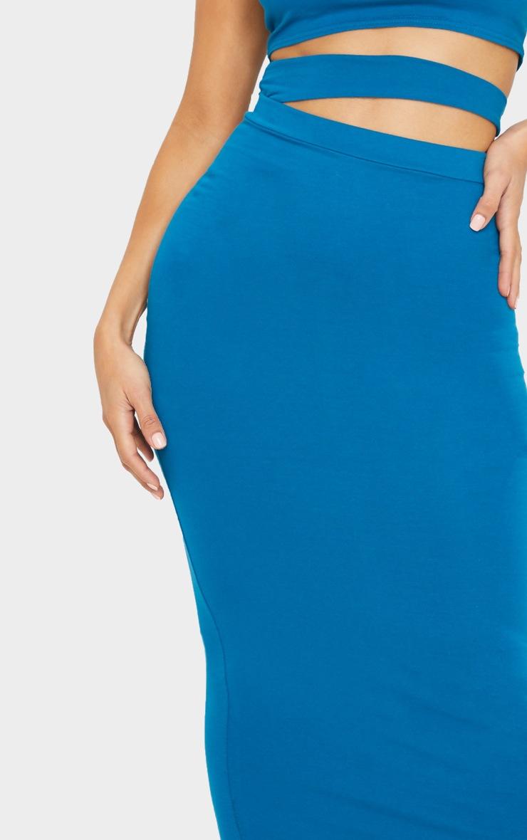 Teal Cotton Cut Out Waist Midaxi Skirt 4