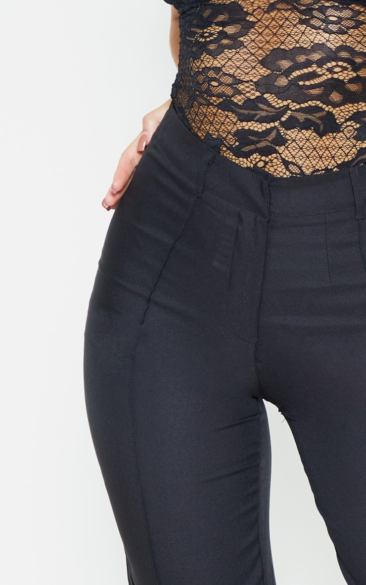 Black Straight Leg Tailored Trousers 5