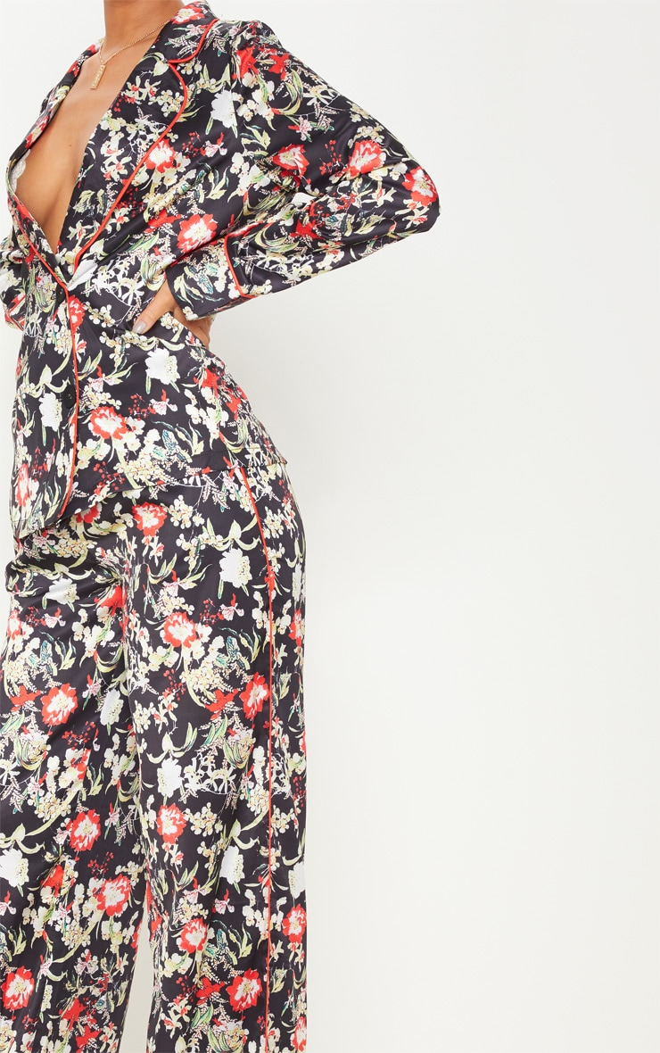 Multi Floral Satin Printed Wide Leg Trousers 5