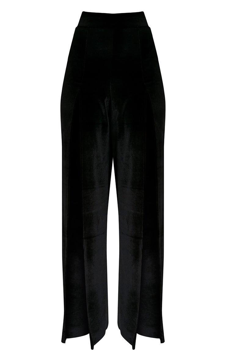 Kiley Black Split Front Velvet Wide Leg Trousers 3