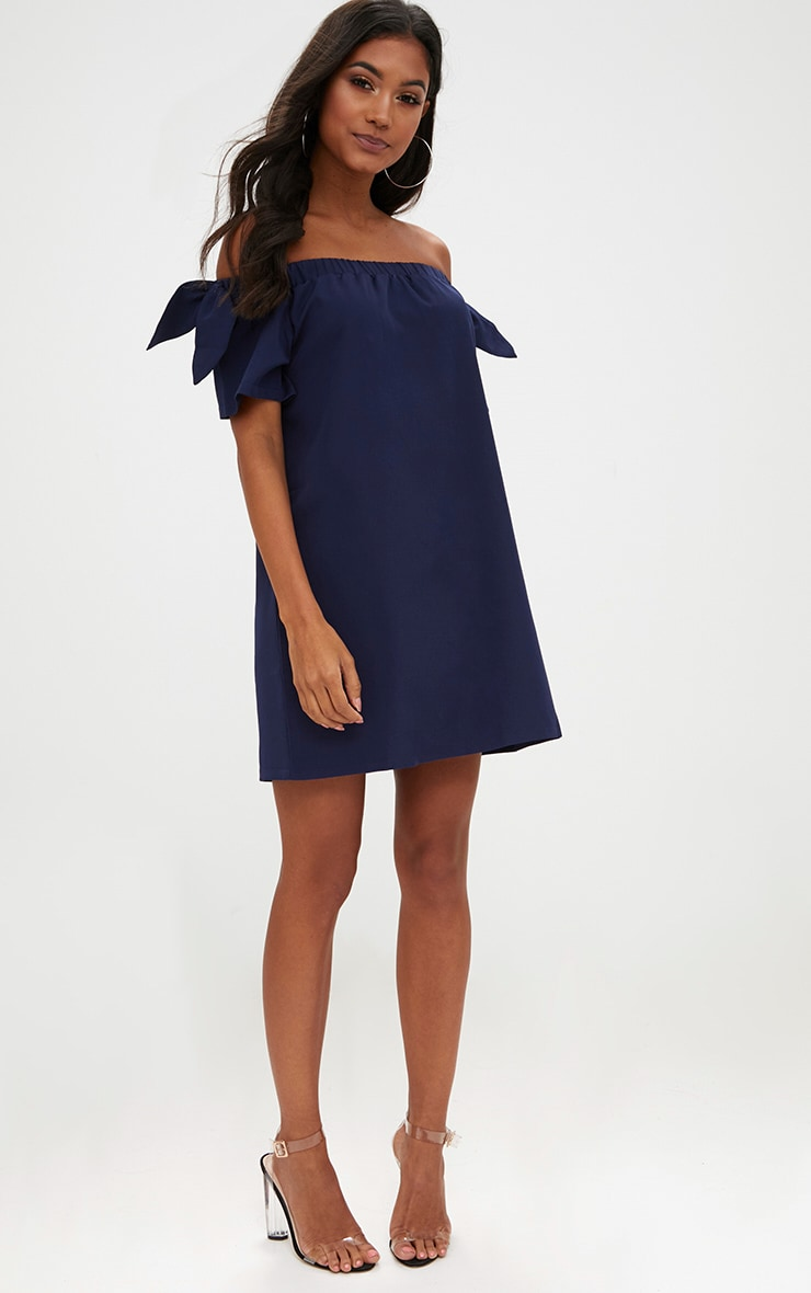 Navy Crepe Bardot Swing Dress 4