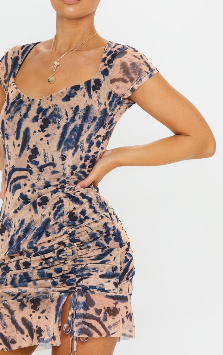 Multi Tie Dye Print Mesh Cap Sleeve Ruched Frill Hem Bodycon Dress 4