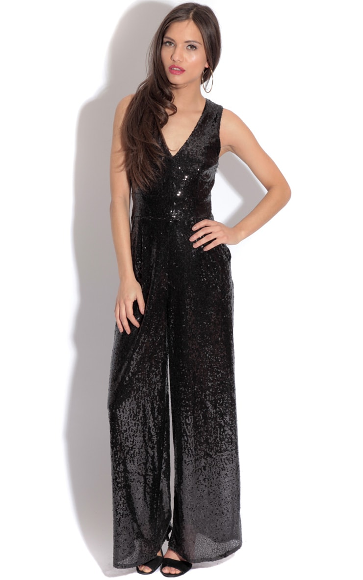 Cece Black Sequin Jumpsuit 1
