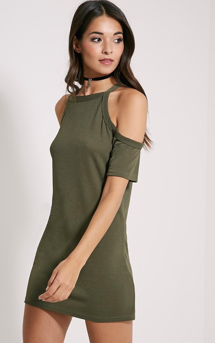 Nola Khaki Cut Out Shoulder Dress 4