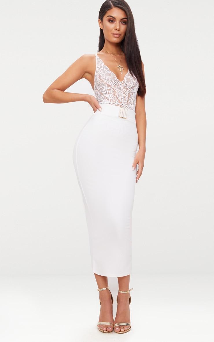 White Belt Trim Detail Midaxi Skirt  1