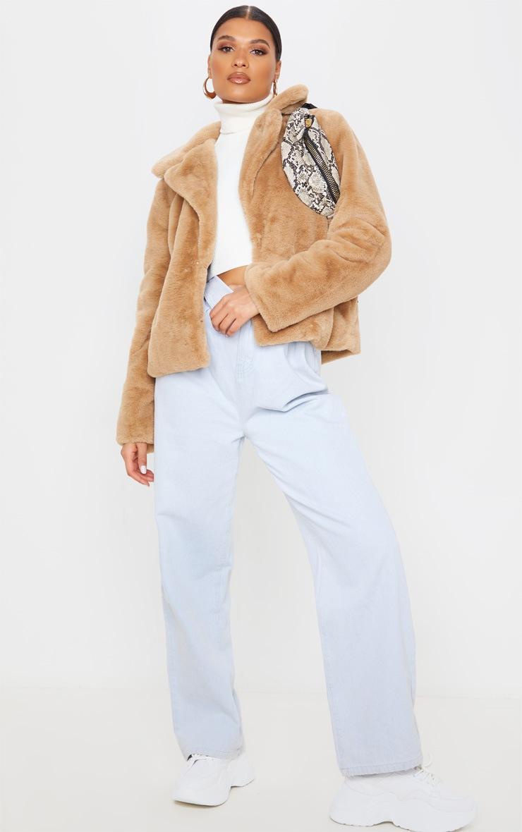 Beige Faux Fur Collar Coat 2