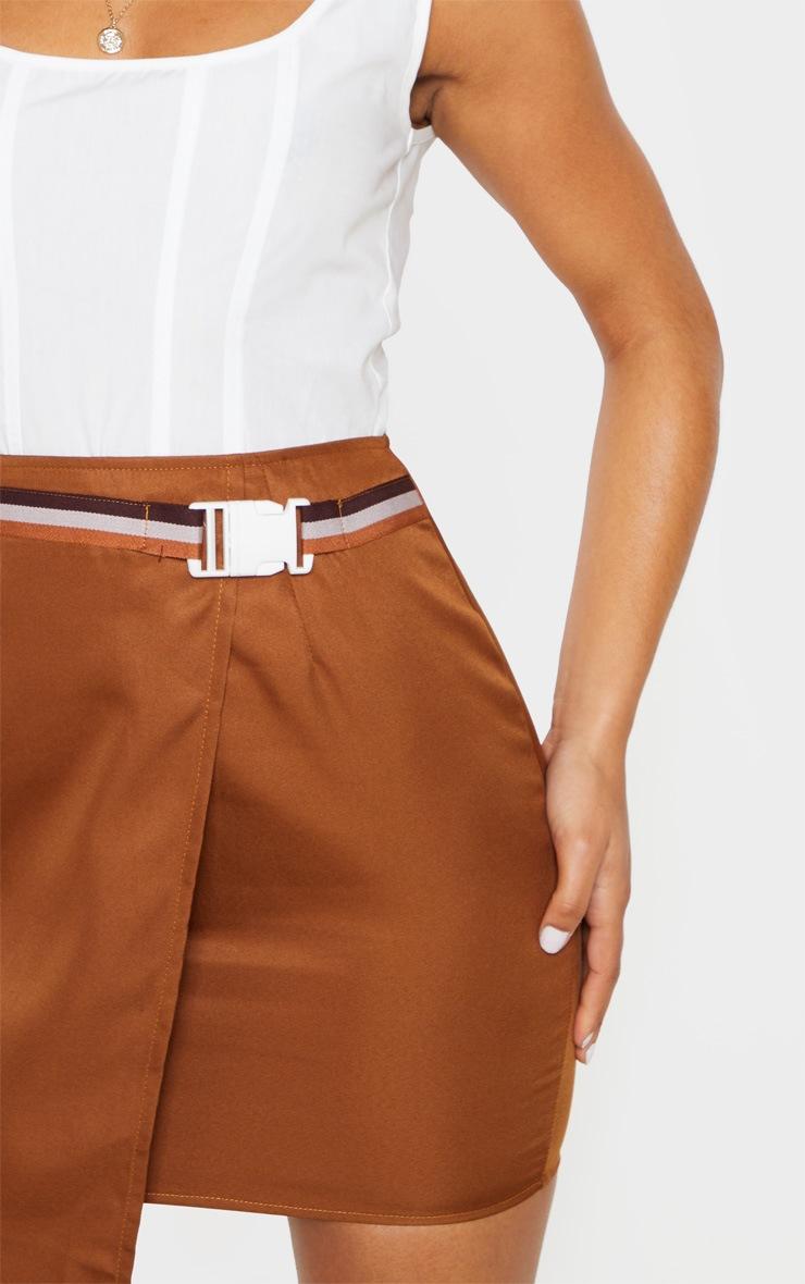 Tan Belted Waist Wrapover Mini Skirt 6