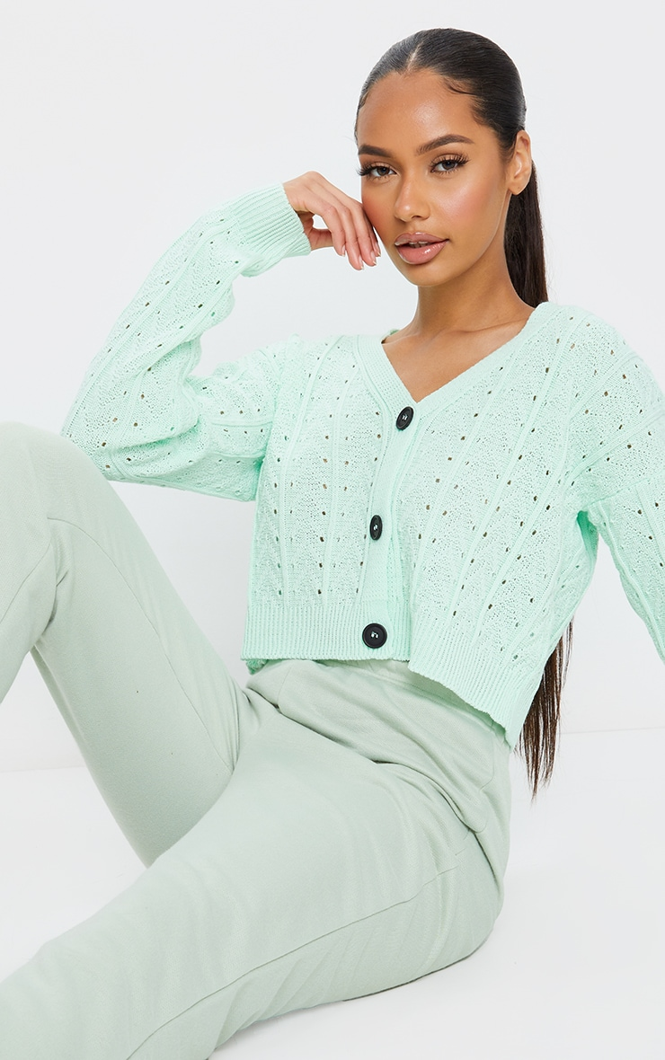 Mint Cropped Cable Pointelle Button Down Cardigan 1