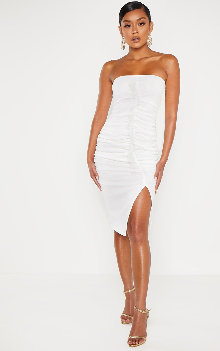 White Dobby Mesh Bandeau Ruched Midi Dress