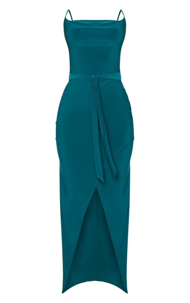Emerald Green Cowl Neck Tie Waist Maxi Dress 3