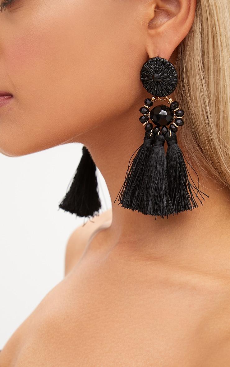 Black Acrylic Bead Tassel Earring 5