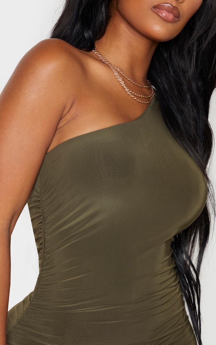 Shape Khaki Slinky One Sleeve Ruched Midi Dress 5