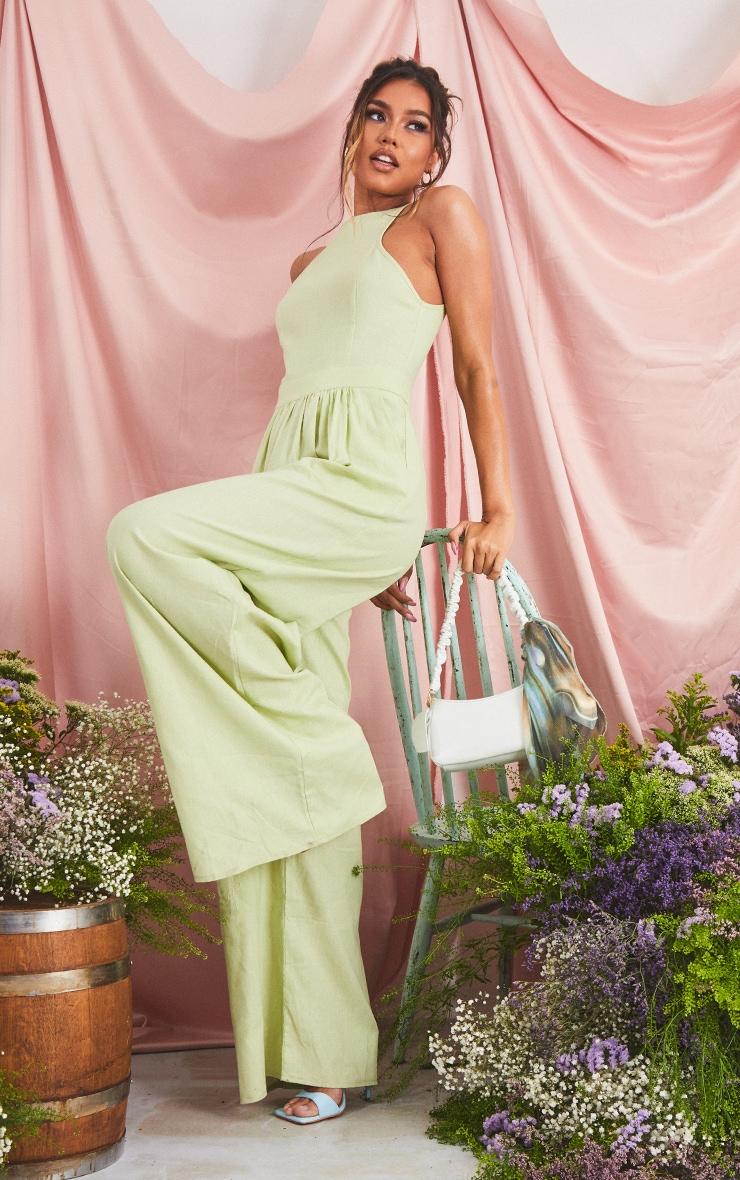 Sage Green Racer Neck Linen Look Wide Leg Jumpsuit image 3