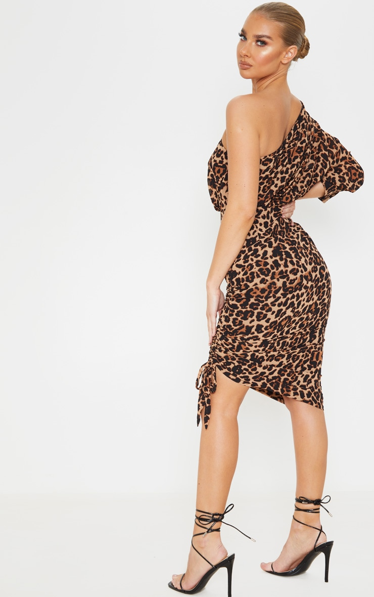 Tan One Shoulder Leopard Print Ruched Midi Dress 2
