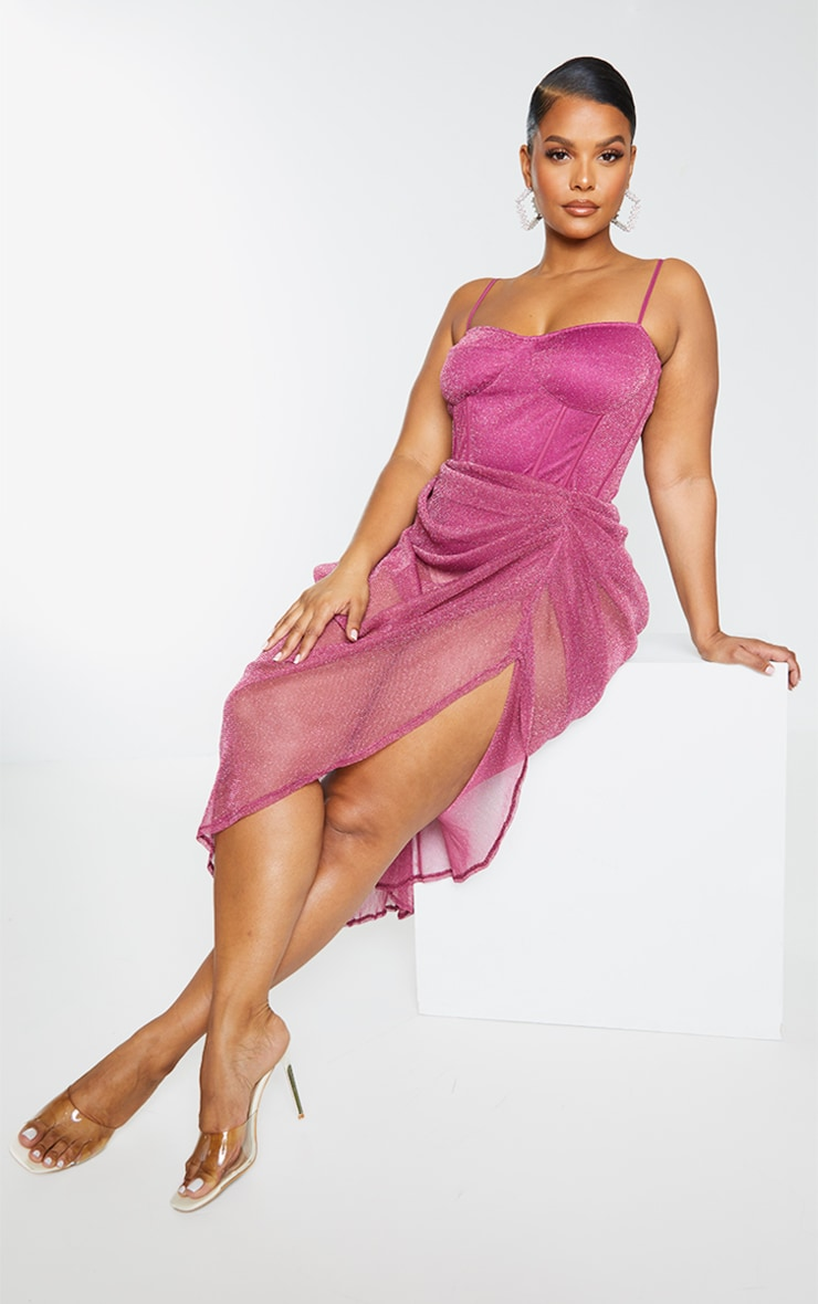 Plus Pink Sheer Glitter Ruched Midi Skirt 1
