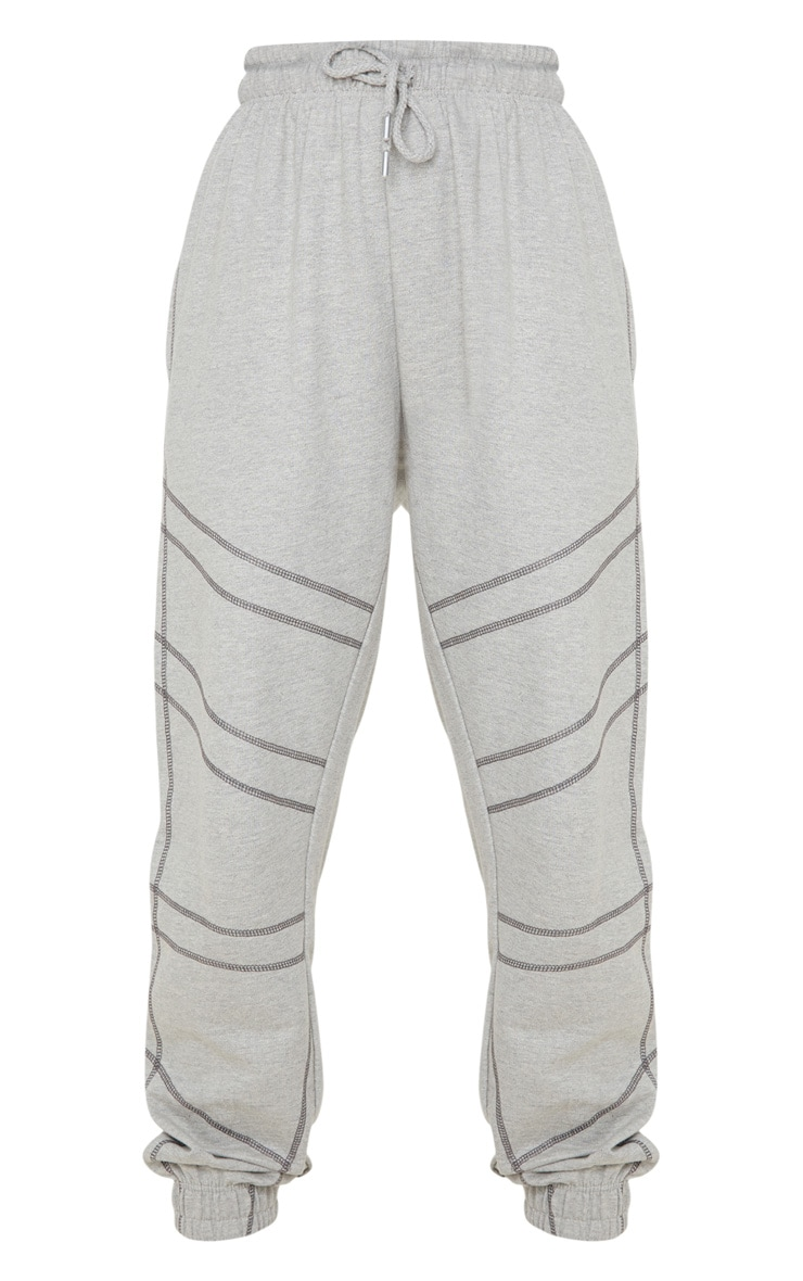 Grey Marl Contrast Stitch Joggers 3