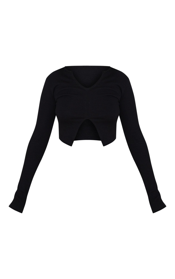 Petite Black Ribbed Split Front Long Sleeve Top 3