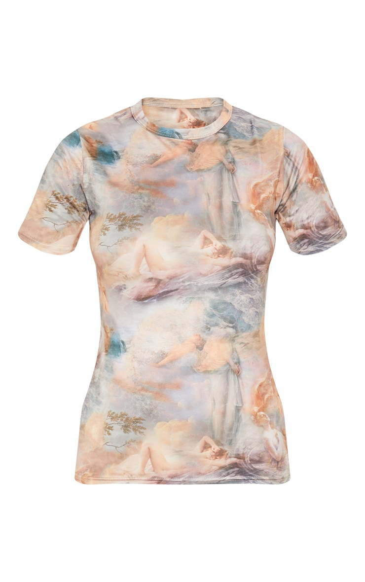 Multi Water Renaissance Printed Slinky Fitted T Shirt 3