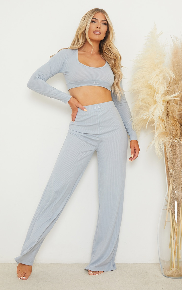 PRETTYLITTLETHING Dreams Baby Blue Badge Mix and Match Rib PJ Top 3